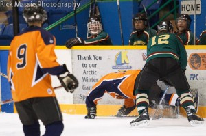 Whitehorse Oldtimer Hockey League: Air North vs. Performance Centre. Photo by Rick Massie / Yukon Sports Photographer